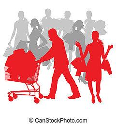 sacs, concept, achats, résumé, vente, charrette, vecteur, fond, homme, femmes