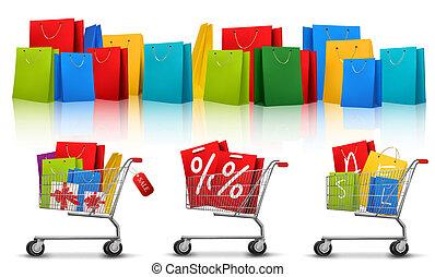sacs, concept, couleur commerciale, discount., sale., charrettes, vecteur, fond