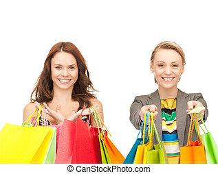 sacs, couleur commerciale, filles, séduisant, tenue