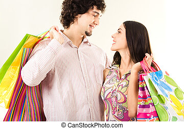 sacs, couple, jeune