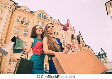 sacs, -, ctiy, tourisme, concept, beau, achats, filles