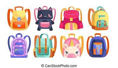 sacs dos, gosses, coloré, ensemble, différent, huit
