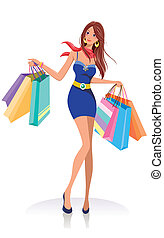 sacs, girl, mode, achats, jeune