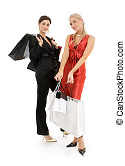 sacs, heureux, achats, deux filles