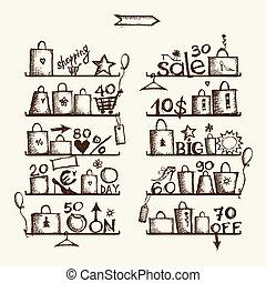 sacs provisions, étagères, vente, grand
