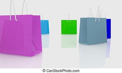 sacs provisions, blanc, couleurs, divers