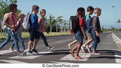sacs, route, école, groupe, gosses, croisement