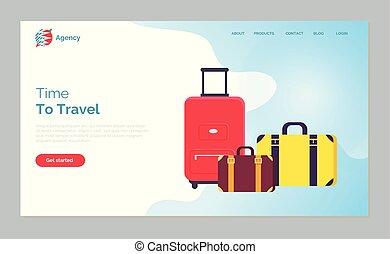sacs, toile, voyage, bagage, temps vacances
