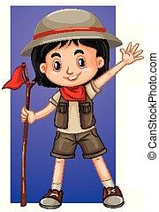 safari, girl, heureux, déguisement