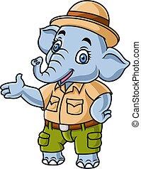 safari, porter, déguisement, éléphant, mignon, dessin animé