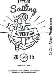 sailing., banner., lets, vecteur, aller, ancre
