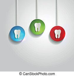sain, blanc, symbole, fond, dent