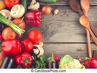 sain, bois, légumes, organique, fond