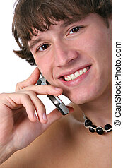 sain, cellphone, jeune homme