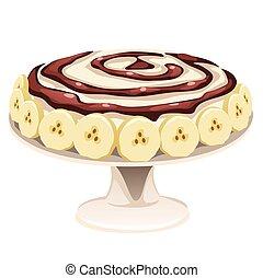 sain, chocolat, blanc, savoureux, isolé, crème, illustration., dessin animé, recette, arrière-plan., gros plan, vecteur, banane, nourriture., gâteau, livre, illustration