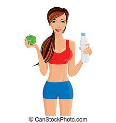 sain, girl, style de vie, fitness