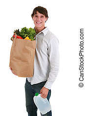 sain, jeune regarder, épicerie, tenue, homme souriant