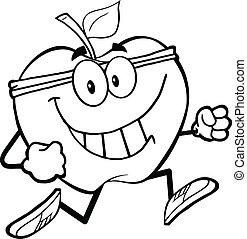 sain, jogging, esquissé, pomme