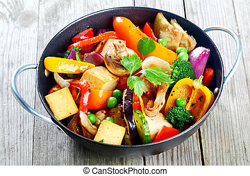 sain, légumes, encas, tofu, rôti