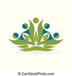 sain, logo, vecteur, nature, gens