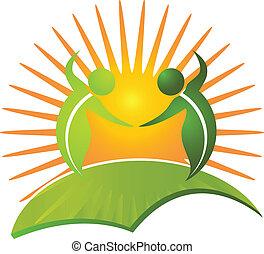 sain, logo, vie, vecteur, nature