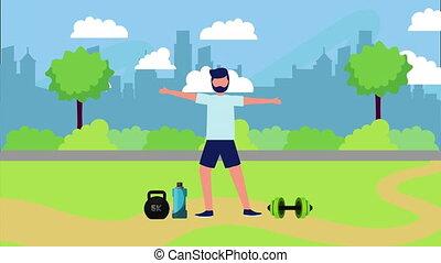 sain, parc, athlète, style de vie