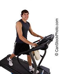 sain, séance entraînement, homme, jeune, tapis roulant
