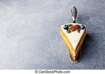sain, sommet, vegan, nourriture., carotte, vue., cake.