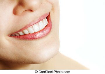 sain, sourire, femme, frais, dents