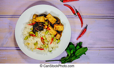 sain, teriyaki, riz, tofu, collant