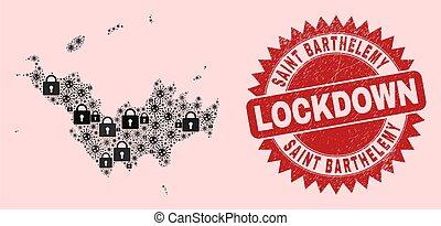 saint, serrures, barthelemy, cachet, lockdown, timbre, virus, mosaïque, gratté, carte