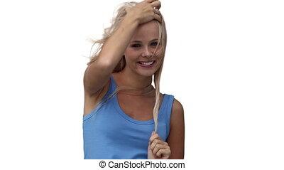 saisir, cheveux, elle, quoique, regarder, appareil photo, femme