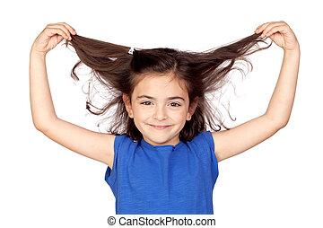 saisir, cheveux, petite fille, elle