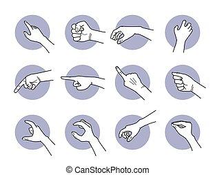 saisir, pointage, main, gestures.