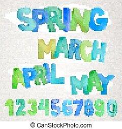 saison, aquarelle, noms, printemps