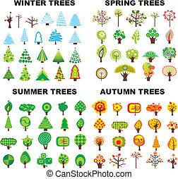 saison, ensemble, arbre