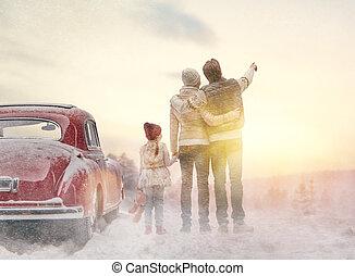 saison, hiver, famille