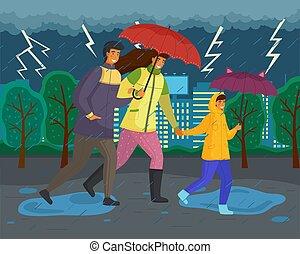 saison, parapluie, imperméables, porter, famille, parc, pluie, automne, marche, ville