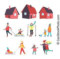 saisonnier, activités, extérieur, hiver, gens, vecteur