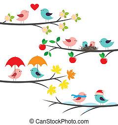 saisonnier, branches, oiseaux