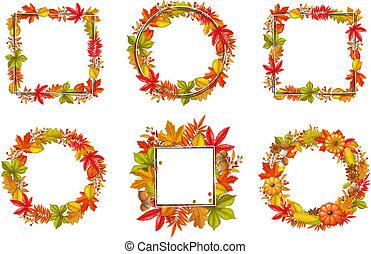 saisonnier, cadre, ensemble, automne