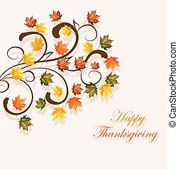 saisonnier, feuilles, thanksgiving, automnal, conception, fond, ou