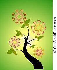 saisonnier, fleur, arbre