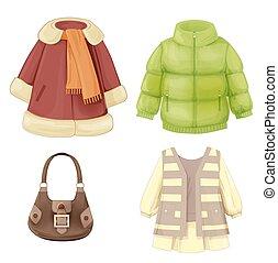 saisonnier, robe, ensemble, manteau, rembourré, girls., parka, vêtements