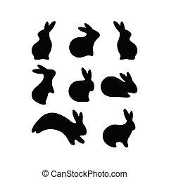 saisonnier, style, icône, simple, paques, set., vecteur, étiquette, logotype., carte postale, sticker., lièvre, noir, plat, lapin, bétail, animal, lapin