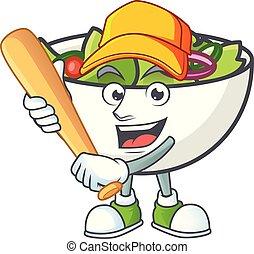 salade, base-ball, bol, jouer, mascotte