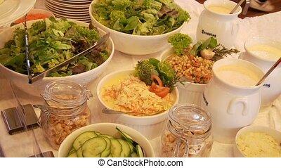 salade, buffet, gens