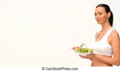 salade, cheveux brun, manger, femme