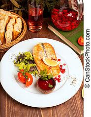 salade, citron, tomates, sauce, fish, saumon, filet, vert, grillé, plaque., blanc, trempette, rouges