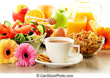 salade, croissant, café, jus, muesli, petit déjeuner, oeuf